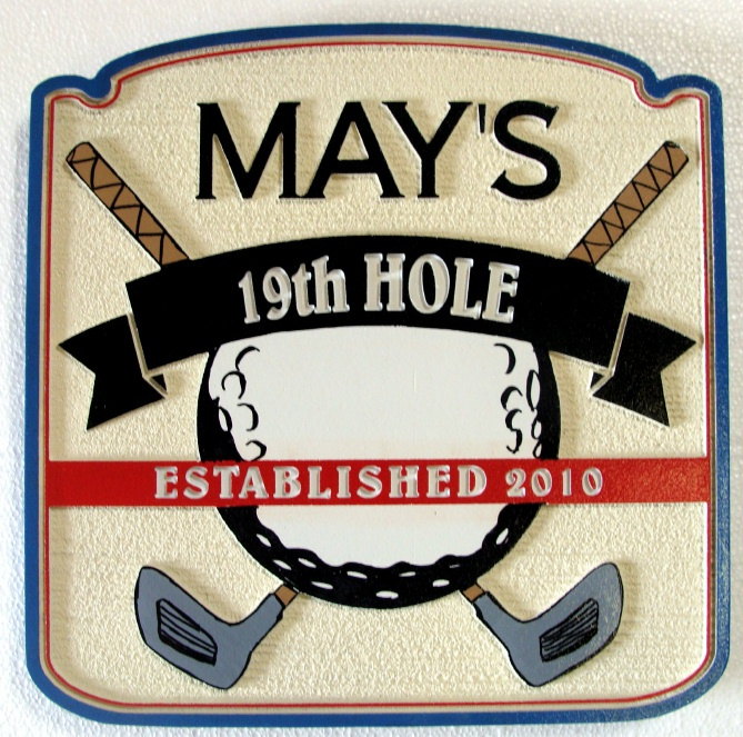 "FG612 - Carved 2.5-D  HDU  Wall Plaque for a Golfer's ""19th Hole"" Home Bar, with Golf Ball and Clubs"