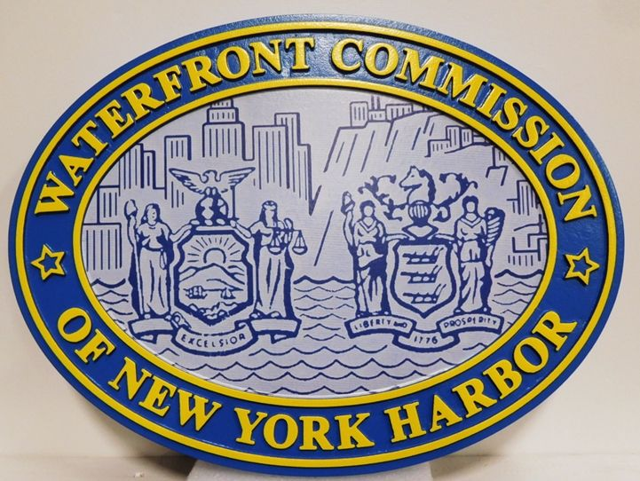 DP-1766 - Carved Plaque of the Seal ofthe Waterfront Commission of New York Harbor, 2.5-D with Giclee Applique