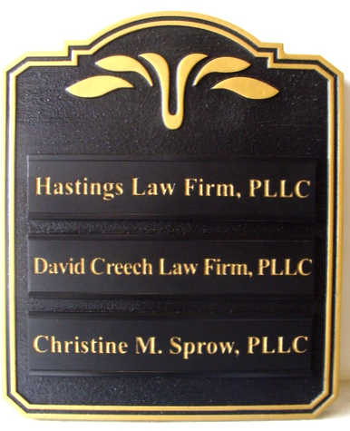 A10540- Carved Black and Gold Multiple Attorney Directory Sign, with Changeable Nameplates