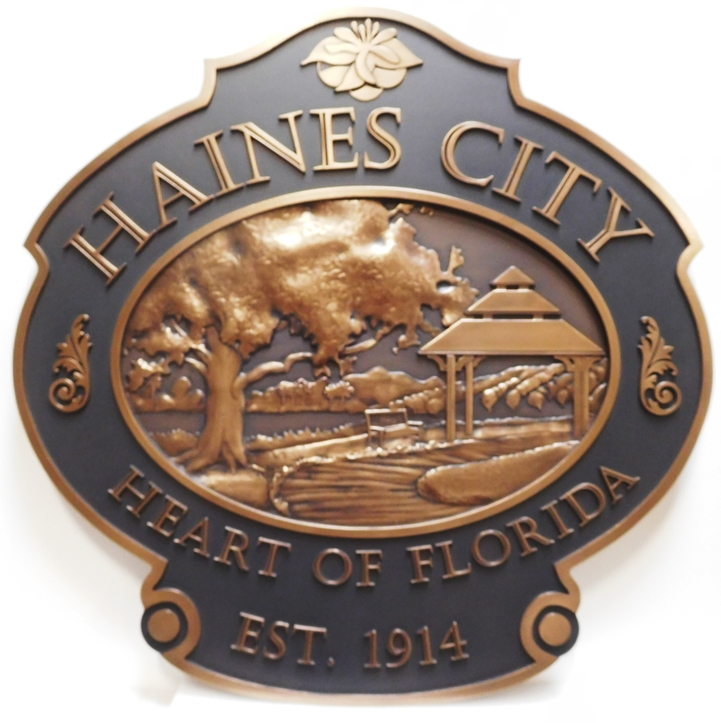 DP-1515 - Carved Plaque the Seal of Haines City, Florida, Bronze-Plated