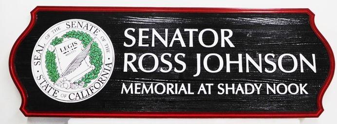 GC16570 - Carved and Sandblasted Redwood Custom Memorial Wall Plaque honors Senator Ross Johnson