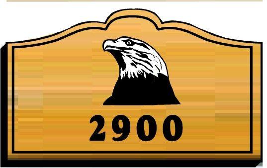 O24624 - Wood Address Sign with Carved Bald Eagle