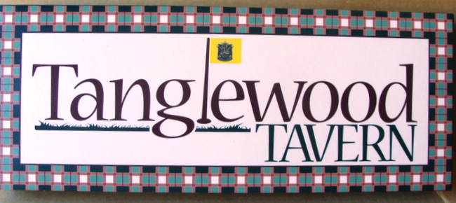 "RB27121 - Elegant Engraved  Sign for the ""Tanglewood Tavern"""