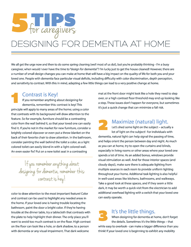 5 Tips for Designing for Dementia at Home