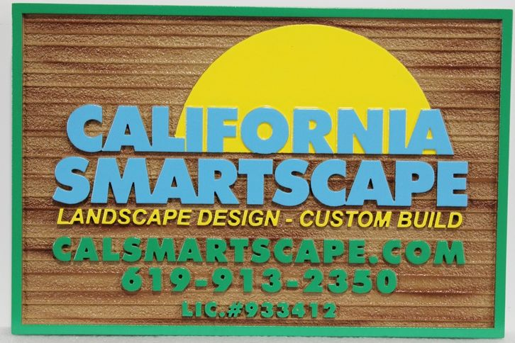 """S28144 - Carved and Sandblasted Wood Grain HDU sign  for the """"California Smartscape"""" company"""