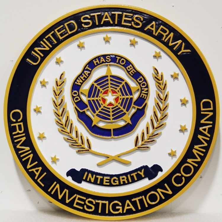 MP-1307 - Carved 2.5-D HDU Plaque of the Crest  of the Criminal Investigation Command, US Army