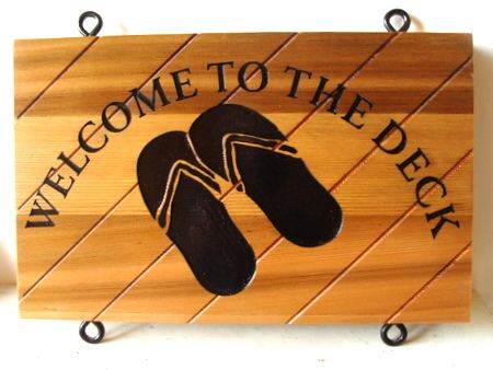 M3316- Natural Cedar Beach-House Sign with Sandal Art (Gallery 20)