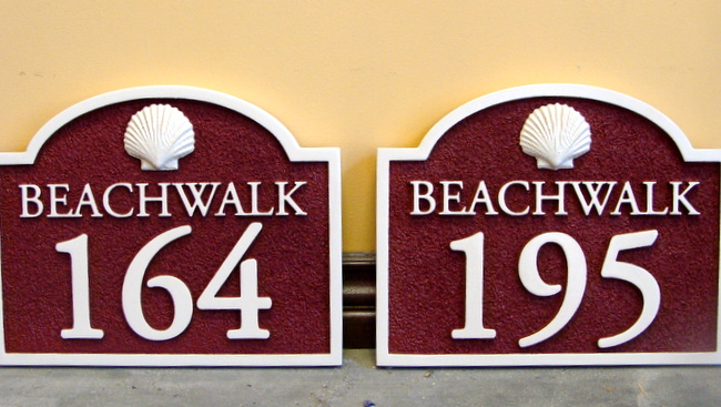KA20861 - Wood Lood Carved HDU Beachwalk Addreass Sign with 3D Carved Shell