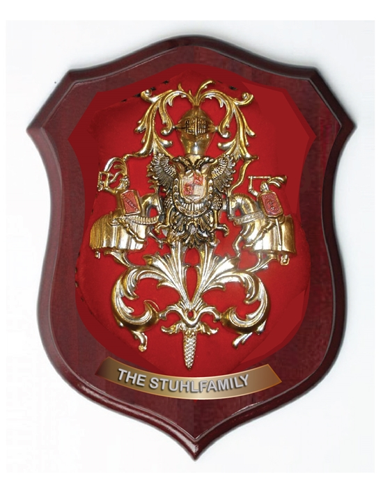 XP-2100 - Carved Shield Wall Plaque of Family Coat-of-Arms / Crest, Brass Plated with Mahogany Wood