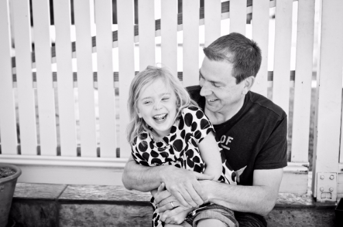 Dave and his daughter, laughing
