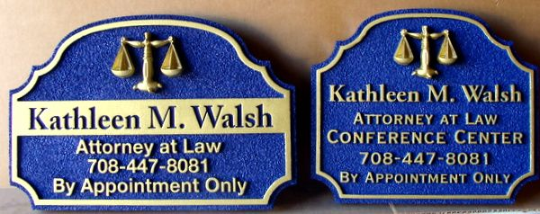 A10148 - Carved HDU Law Office Signs with 3D Scales of Justice