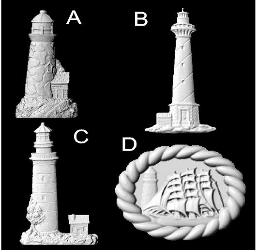 L22054 - Carved 3-D Wood Appliques (Lighthouses, Clipper Ship)