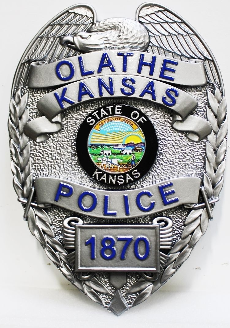 PP-1151- Carved 3-F Plaque of the Badge of a Police Officer, Olathe,Kansas