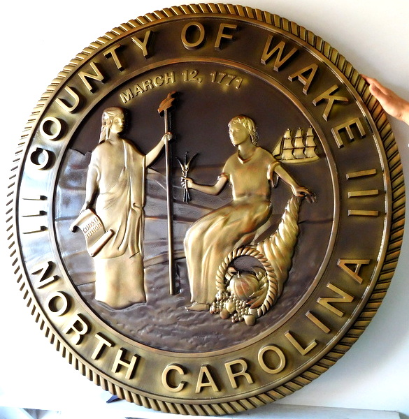 CP-1760 - Carved Plaque of the Seal of Wake  County, North Carolina,   Brass Plated