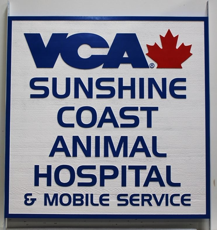"BB11768 - Carved Western Red Cedar Wood Sign  for ""VCA - Sunshine Coast Animal Hospital"""