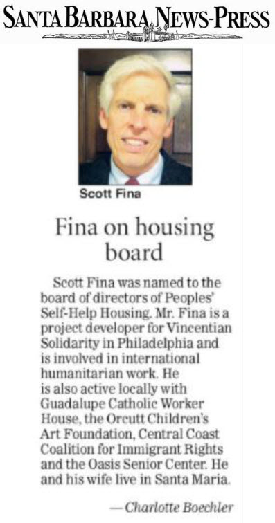 Fina on housing board - Santa Barbara News-Press