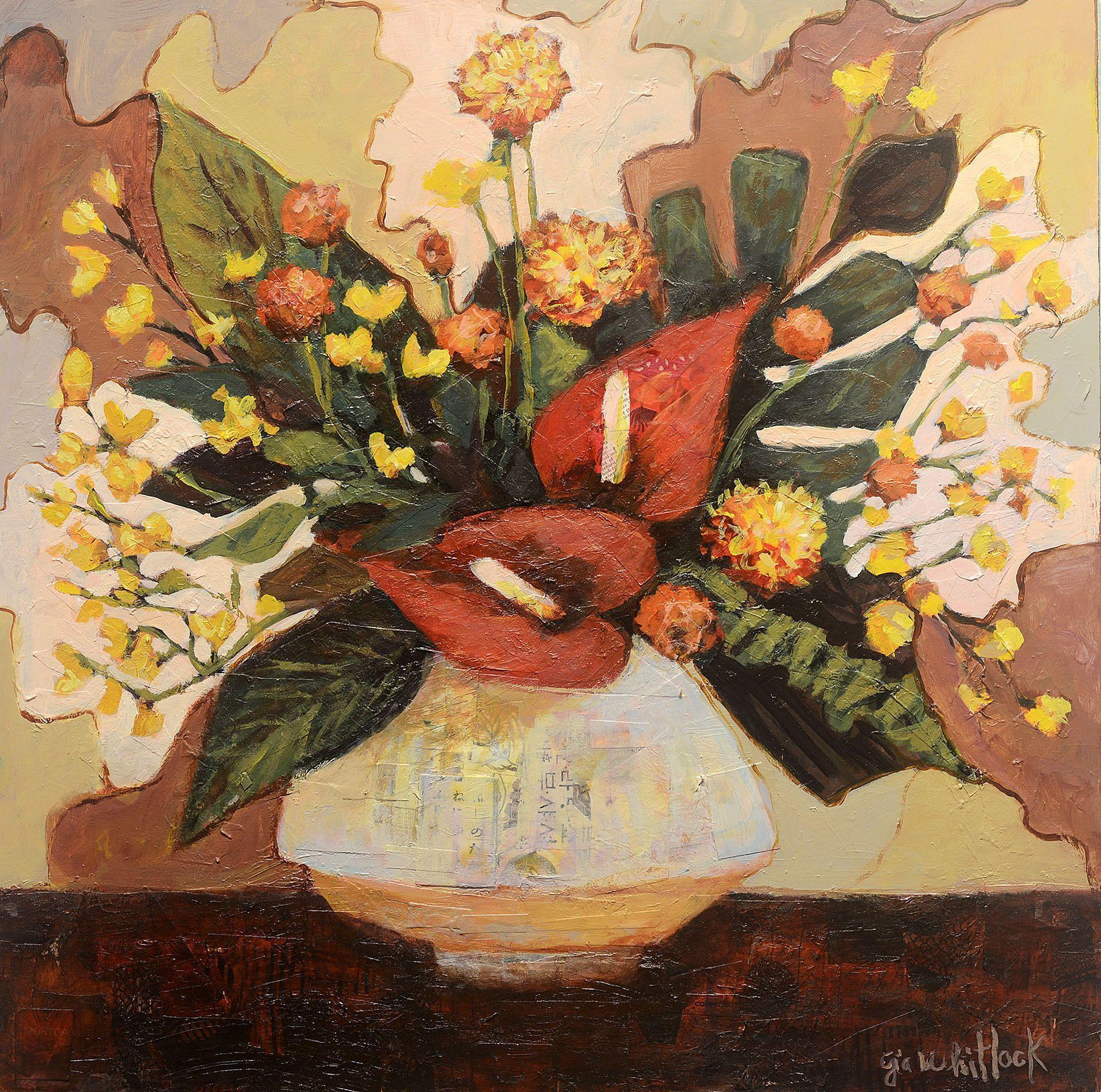 Tropicals in White Vase