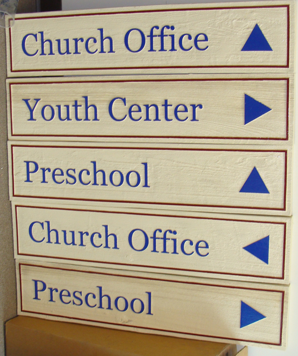 D13139 - 5 Directional Signs for Church Office, Youth Center and Preschool