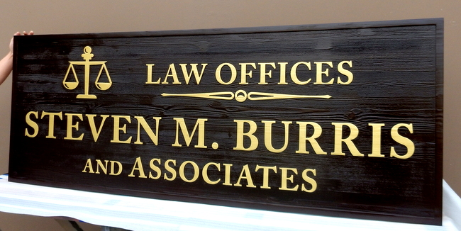 A10029 - Large Engraved Wood  Law Offices Sign, wiith 24K Gold-Leaf Gilded Text