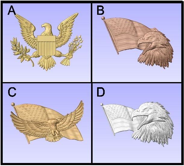 U30901 - Carved US Eagles and Flags
