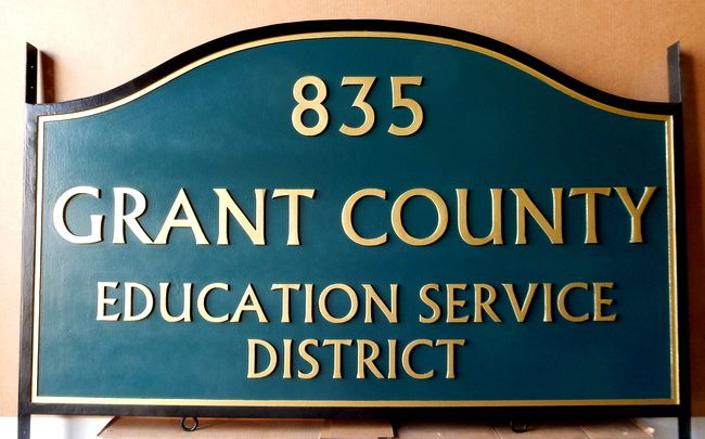 F15552 - Carved HDU Sign with Street Number for Grant County Educational Service District