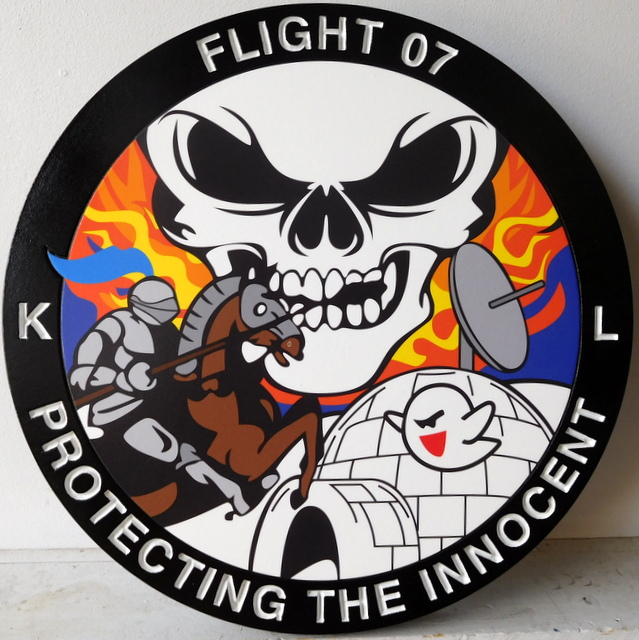 "LP-2620 - Carved Round Plaque of the Crest of Flt 07  ""Protecting the Innocent"",  Artist Painted"