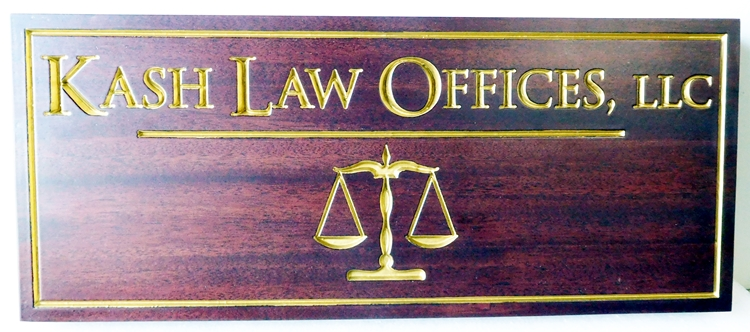 A10013 - Carved, Polished, Mahogany Sign for Law Offices, LLC with V-Carved, 24-K Gold Gilt Text and Scales Of Justice