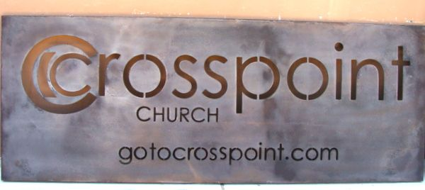 """M7549 - Antiqued & """"Rusted""""  Aluminum Metal Church Sign, """"Cross-Point"""""""