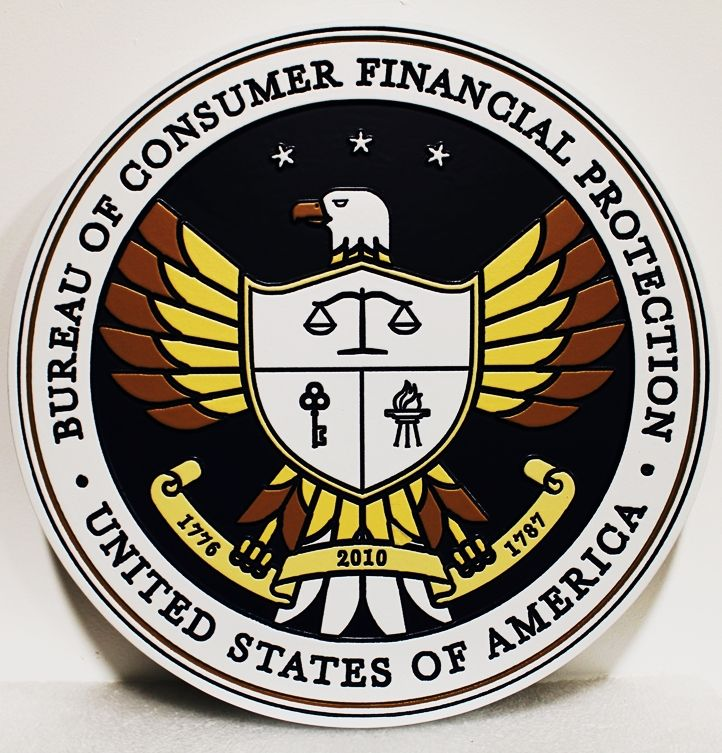 AP-5025 - Carved Seal of the Bureau of Consumer Financial Protection, 2.5-D Artist-Painted