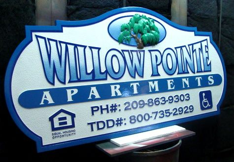 "K20106 -  ""Willow Point""  Apartment Entrance Sign with 3-D Carving of Willow Tree"