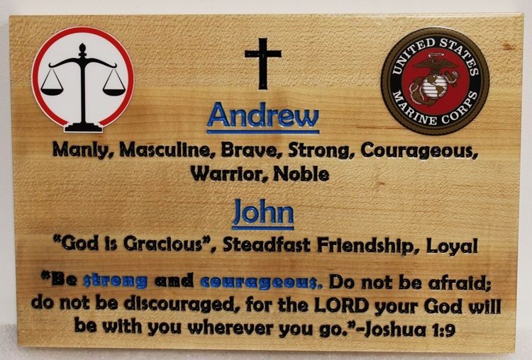 ZP-5030- Engraved Cedar Wall Plaque Honoring Andrew and John