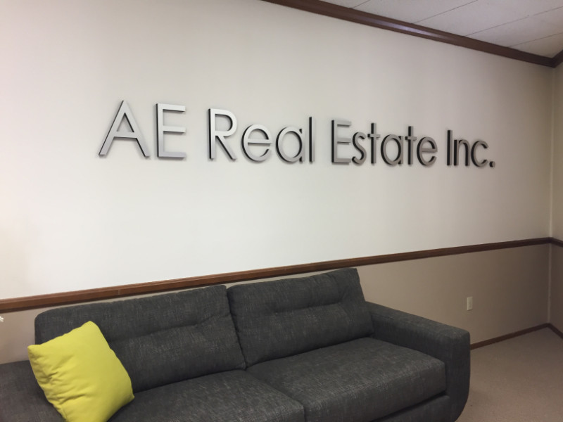 Brushed Metal Lobby Sign