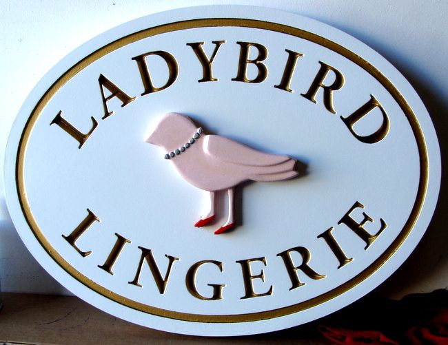 SA28020 - HDU Sign for a Lingerie Store with Carved Image of a Bird
