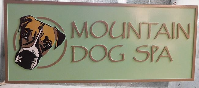 """S28021 -  Carved 2.5-D HDU Sign for the """"Mountain Dog Spa"""" , with Dog's Head as Artwork"""