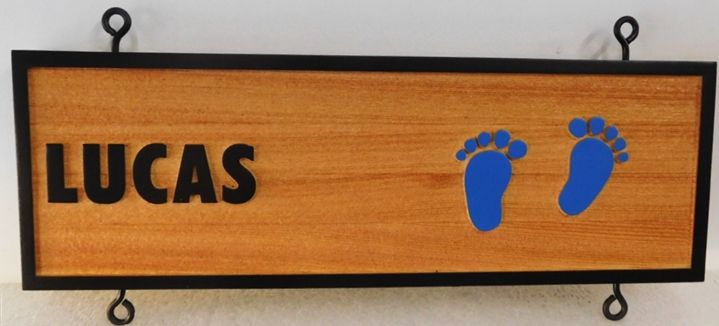 "L21094 - Carved and Sandblasted ""Lucas"" Beach-house Sign made from Cedar Wood,  with Two Footprints in the Sand"