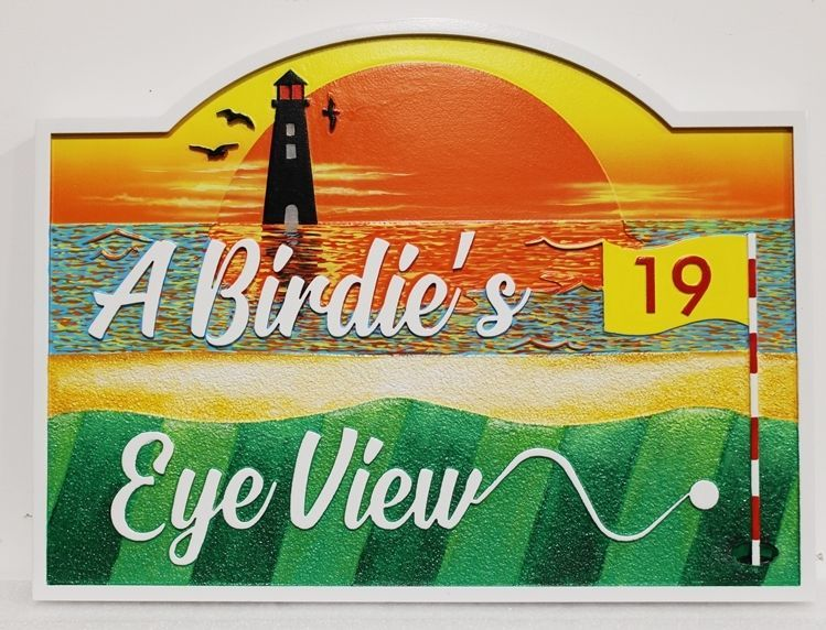 """E14795 - Carved, HDU Sign for a  a Golfer's  Residence """"A Birdie's Eye View"""" with  a Golf Ball on a Green, a Lighthouse and a Sunset over the Oceanas Artwork."""
