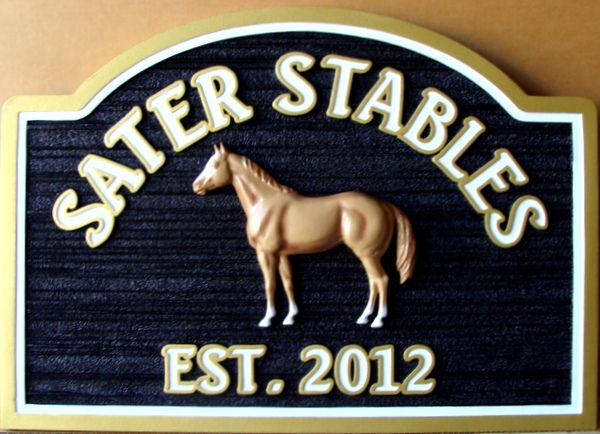 """P25160 - Sandblasted HDU """"Sater Stables """"  Sign (Wood Grain) with Carved 3D Quarterhorse in Profile"""