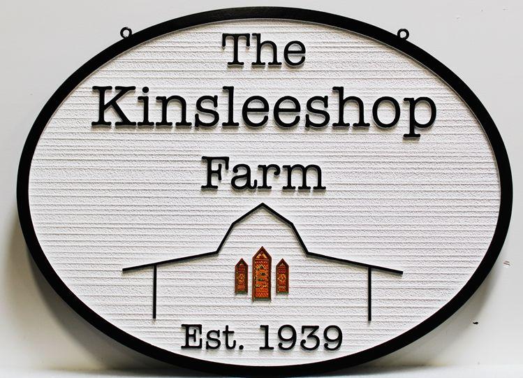 "O24813 - Carved and Sandblasted Wood Grain  HDU sign for ""The KinsleeshopFarm"", with a Barn as Artwork"