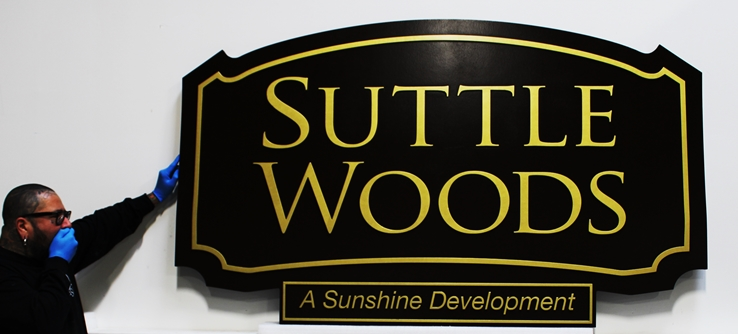 "K20386 - Engraved High-Density-Urethane (HDU)  Entrance Sign for the ""Suttle Woods"" Residential Community"