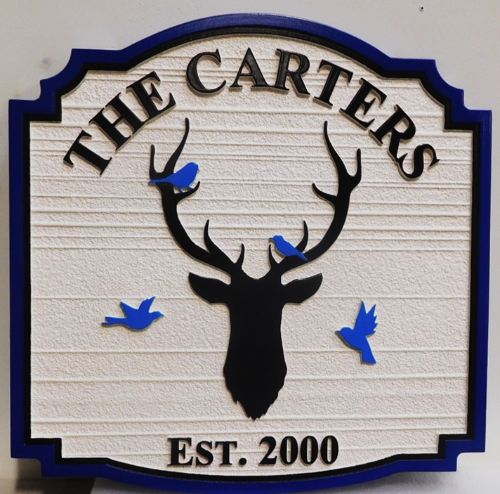 "M22644 - Carved and Sandblasted cabin  name sign ""The Carters"" with a Deer's Head and Bluebirds"