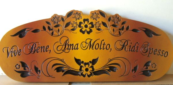 "FG607 - Engraved Cedar Wall Plaque for a Wine Cellar with Italian Saying ""Live Well, Love Much, Laugh Often"""