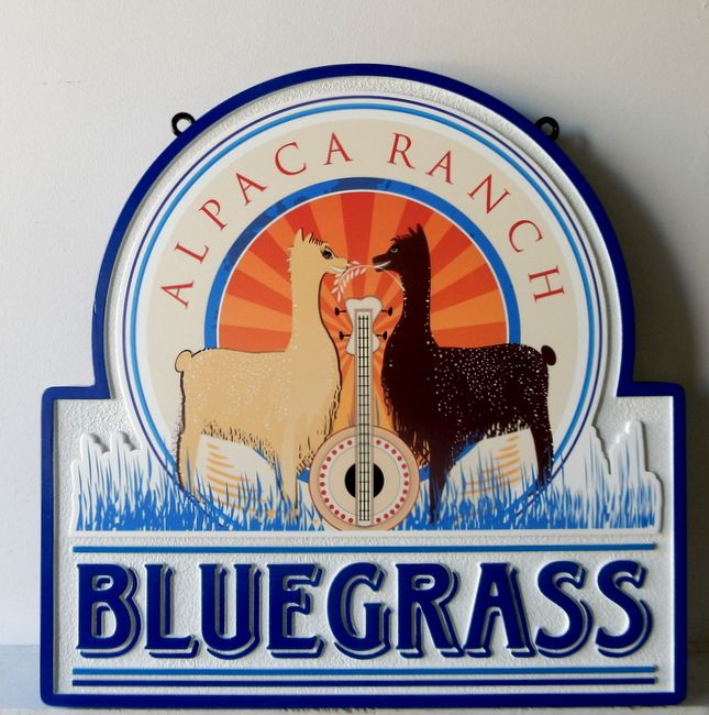 O24408 - Sign for Bluegrass Alpaca Ranch with 2 Alpacas and Banjo
