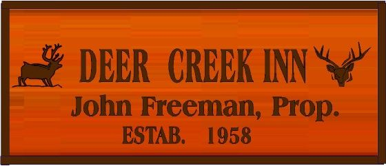 "T29130 - Carved Engraved  Redwood Sign for the ""Deer Creek Inn"", with Deer as Artwork"