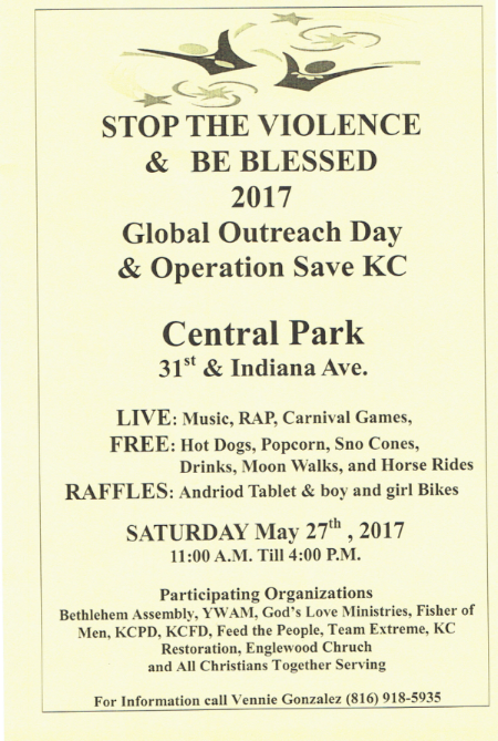 Stop the Violence and Be Blessed Global Outreach Day and Operation Save KC