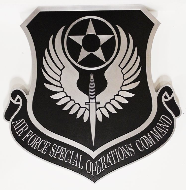 LP-1662-  Carved 2.5-D Aluminum-Plated HDU Plaque of the Shield Crest of the United States Air Force Reserve Command