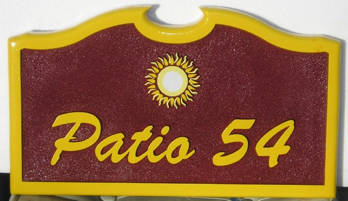 """I18390 - Carved and Sandblasted Property Name Sign """"Patio 54"""", with Sun Artwork"""