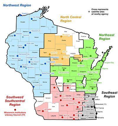 Wisconsin Literacy Regional Map