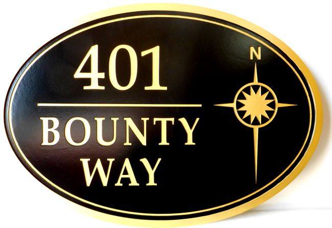 L21756 -  Carved Engraved HDU Residence Address Sign with Simple Compass Rose