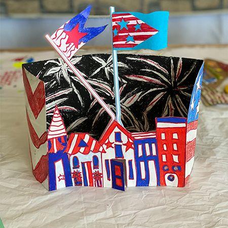 Fireworks & Flag Diorama