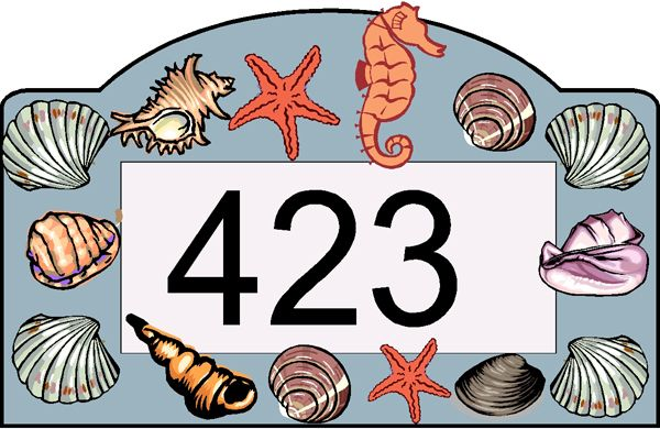 L21514 - Design of Address Number Sign with Seahorse, Starfish, Conch, and Clamshells